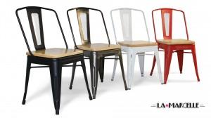 Chaises Marcelle 4 couleurs, avec assise bois
