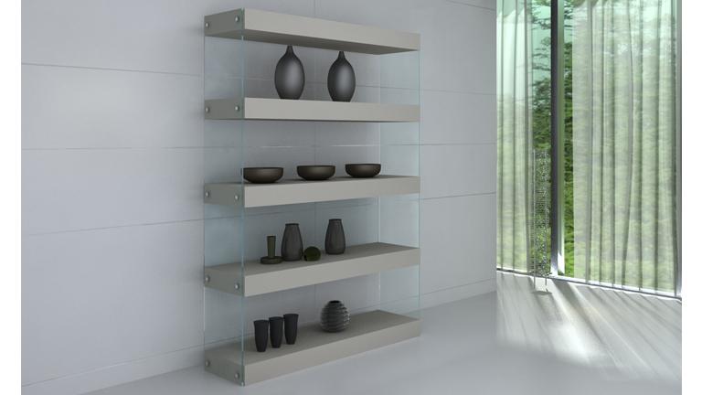 etagere bibliotheque verre taupe contemporaine crystalline 5 etagere le blog mobilier moss. Black Bedroom Furniture Sets. Home Design Ideas