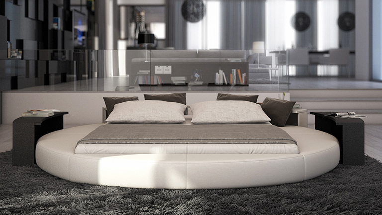 lit rond lumineux 13 lit rond simili design anator blanc tablette noire. Black Bedroom Furniture Sets. Home Design Ideas