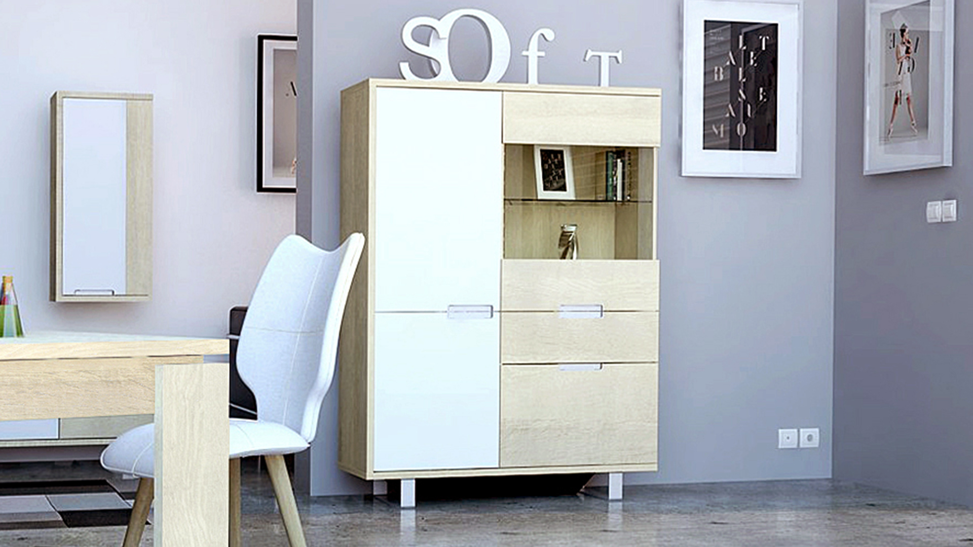 Le blog mobiliermoss am nager un loft contemporain avec for Meuble blanc de salle a manger