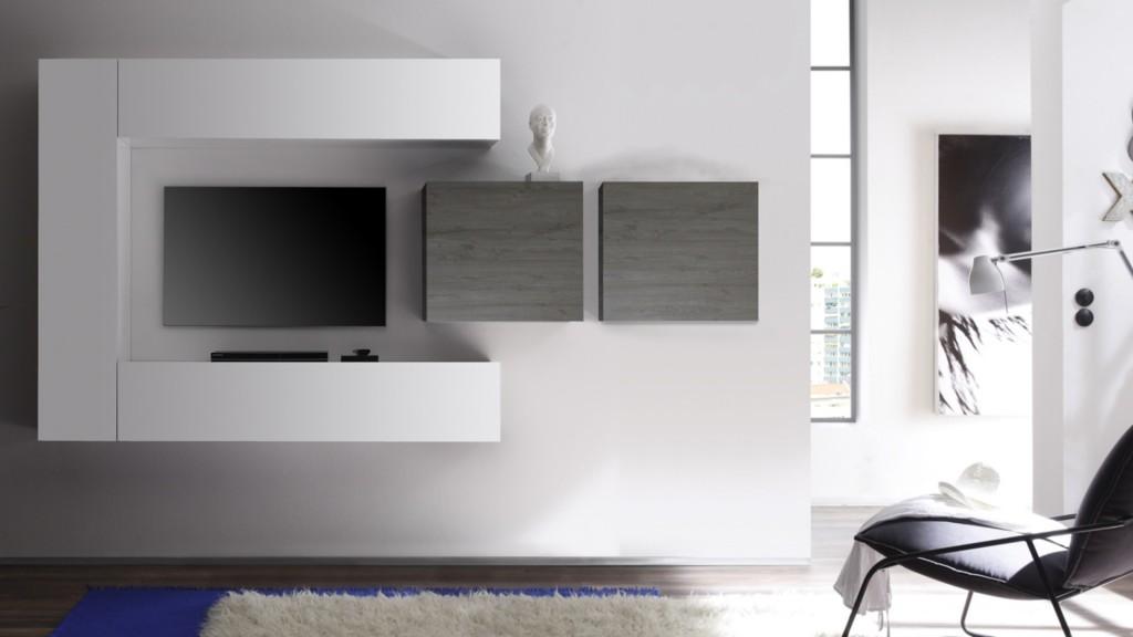 meuble tv design a led blanc laque mars. Black Bedroom Furniture Sets. Home Design Ideas