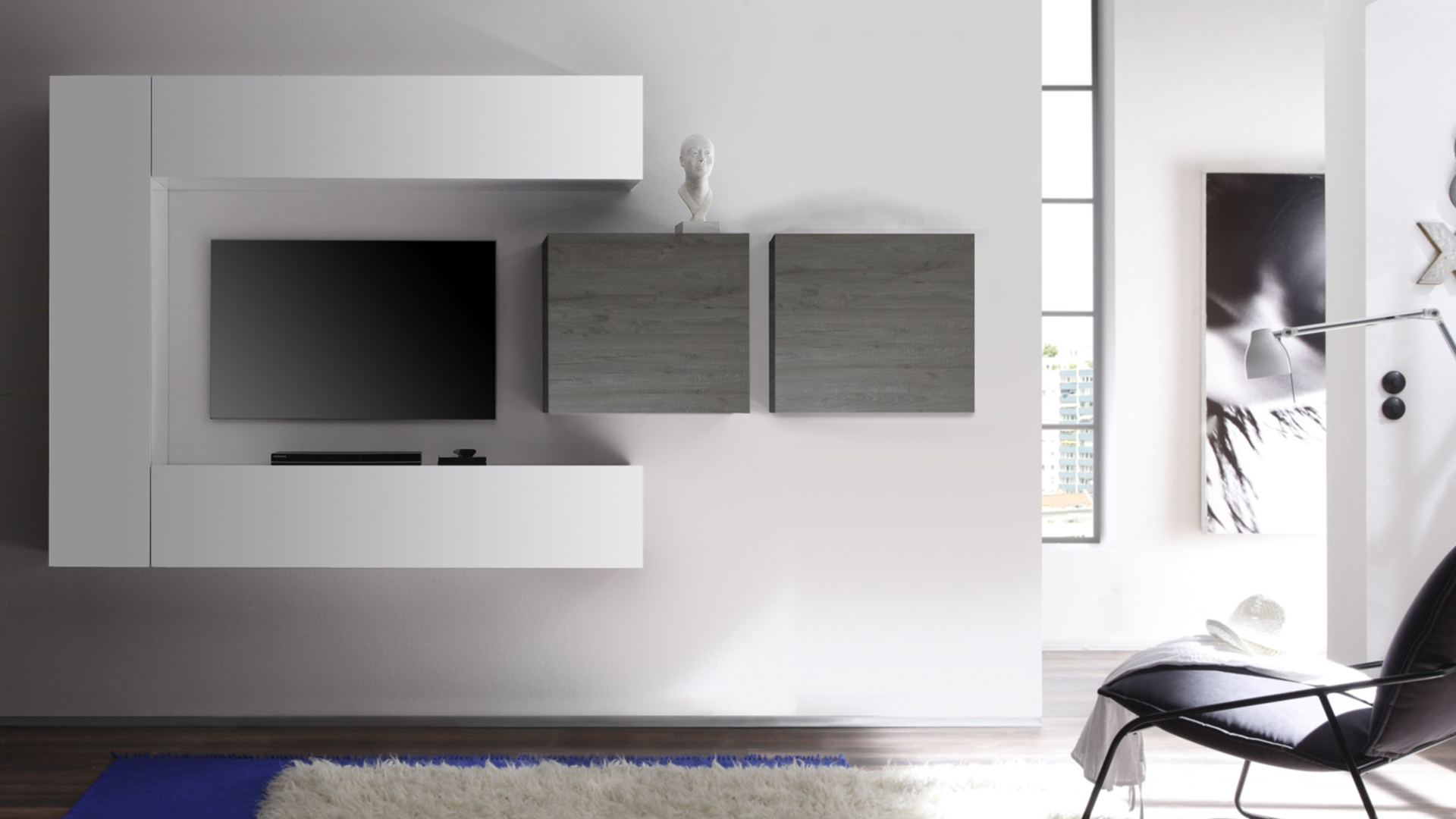 Meuble tv blanc laque suspendu solutions pour la for Meuble tv blanc gris