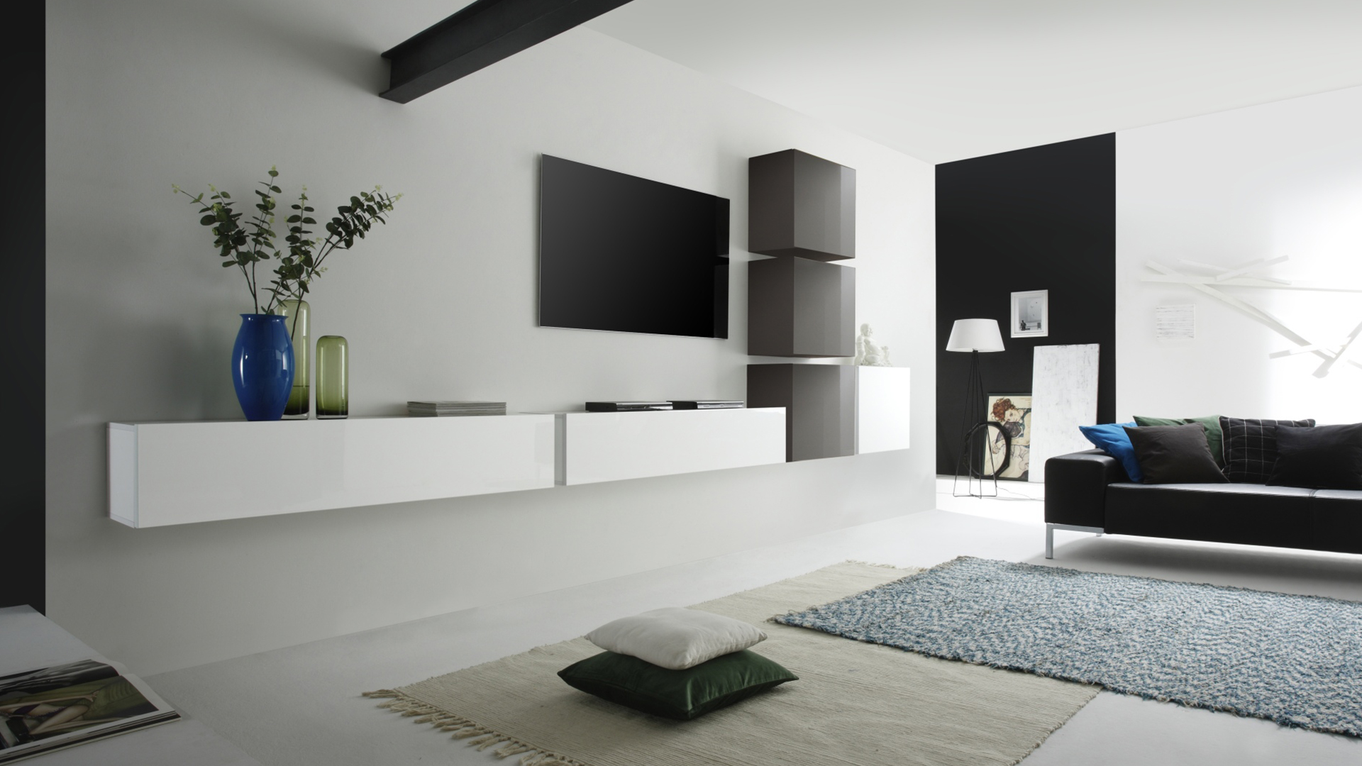 meuble suspendu au mur. Black Bedroom Furniture Sets. Home Design Ideas