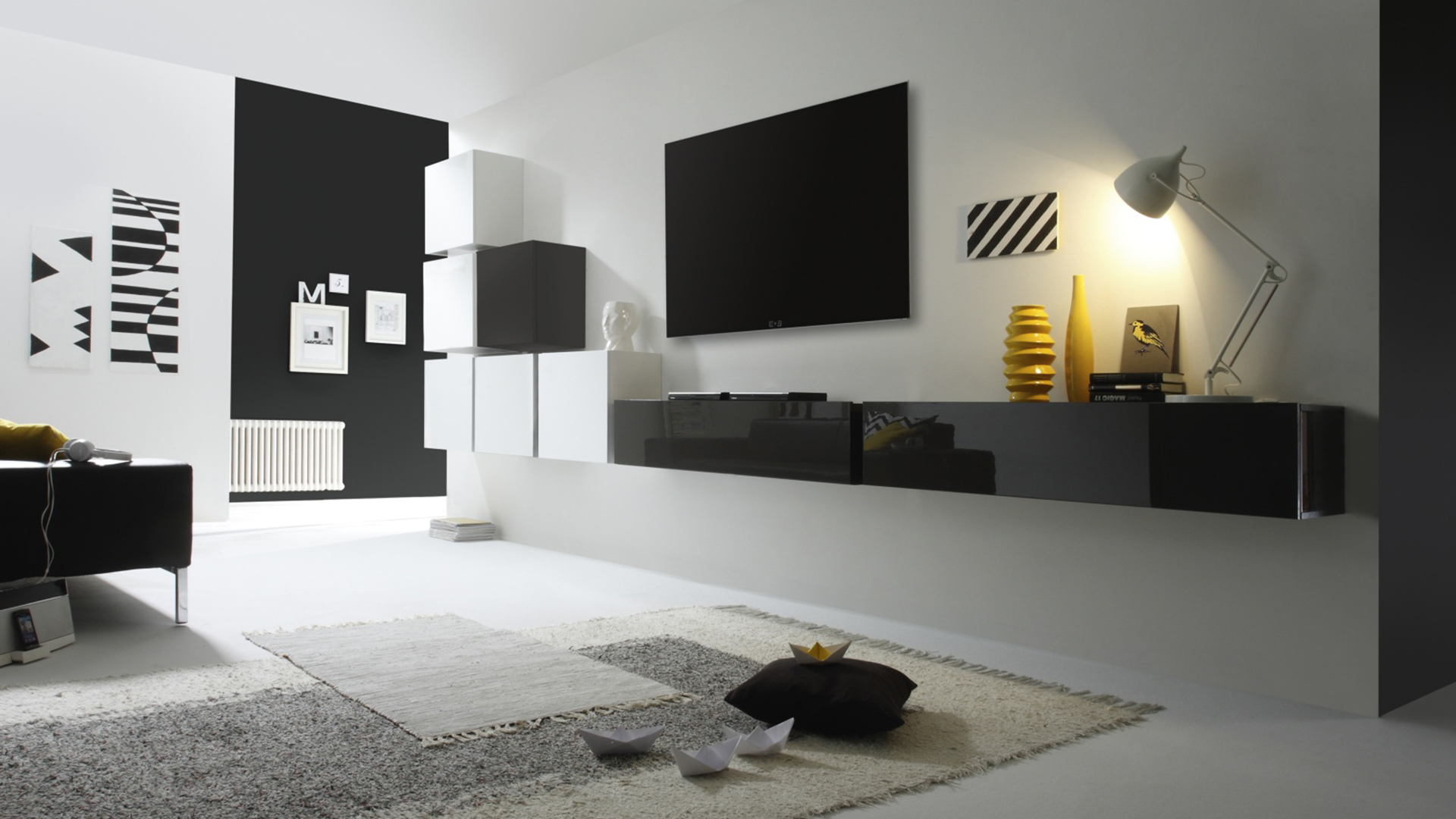 meuble tv mural peker noir et blanc. Black Bedroom Furniture Sets. Home Design Ideas