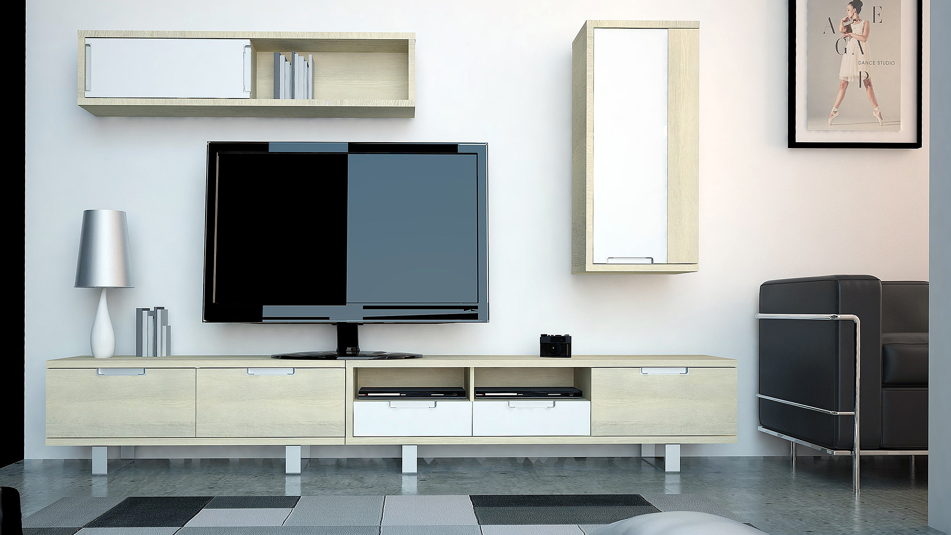 Le Blog Mobiliermoss Am Nager Un Loft Contemporain Avec La Gamme  # Amenagement Tele Meuble Suspendu