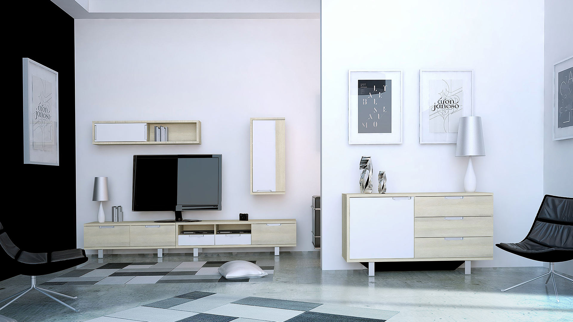 meubles bois clair trendy meuble tv meuble tv design mural laas bois clair et blanc with. Black Bedroom Furniture Sets. Home Design Ideas