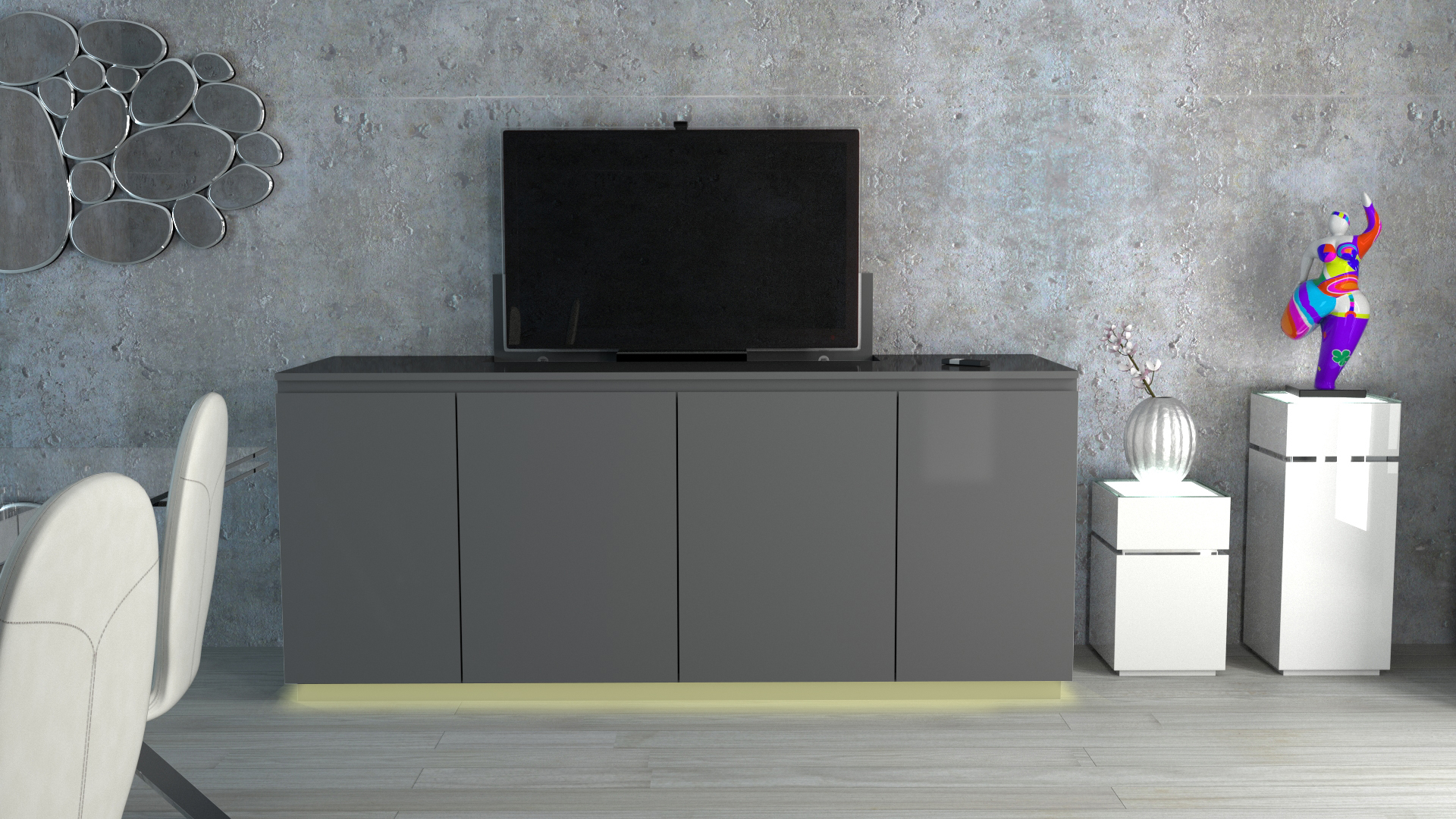 Le Blog Mobiliermoss Meuble Tv Bahut Niel Gris Led Jaune # Meuble Tv Gris Led