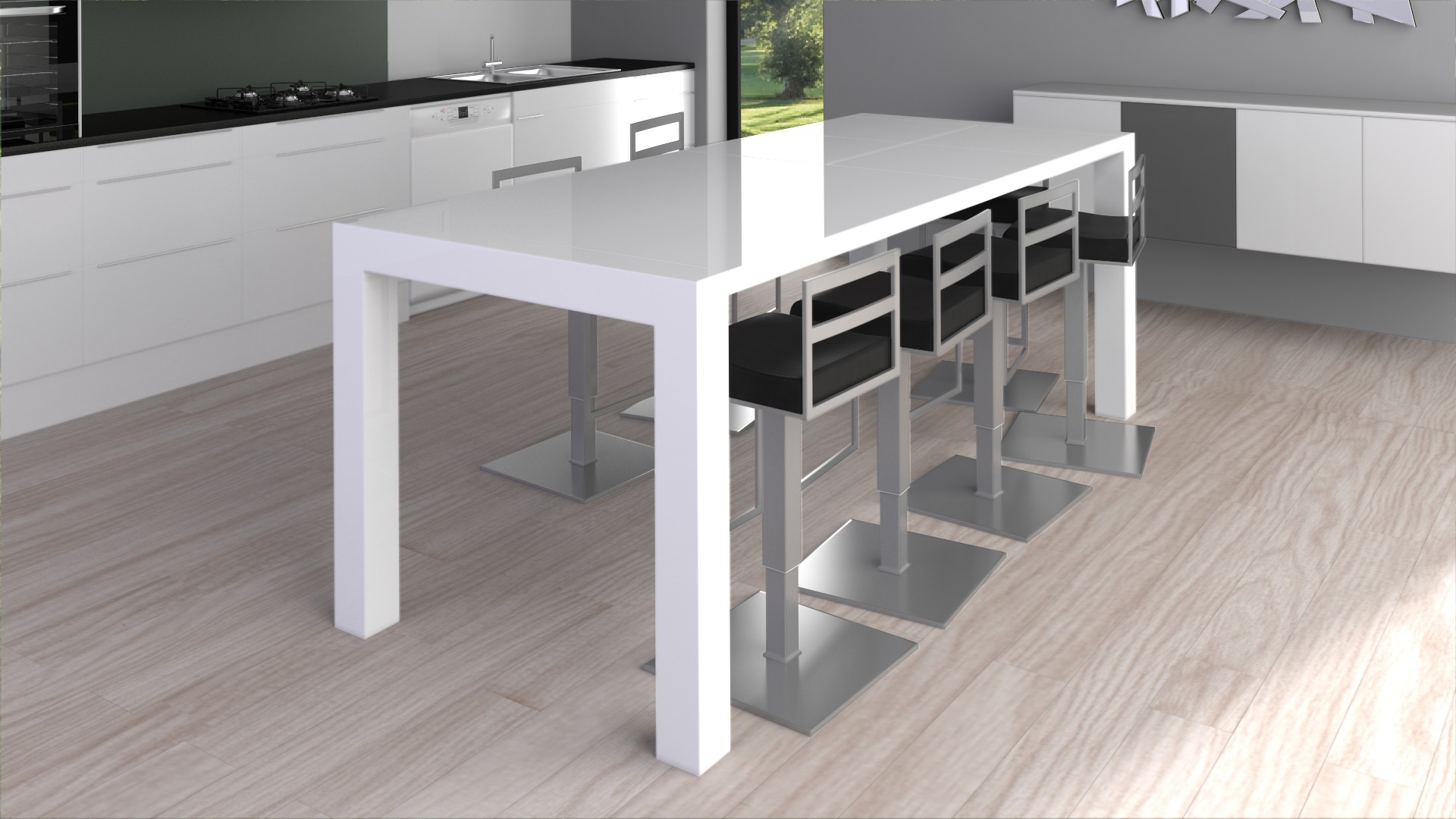 Table laque design avec 2 rallonges flexy blanc - Table haute cuisine design ...