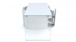 ilot cuisine laque blanc mat pied verre crystalline tiroirs ouverts mobiliermoss