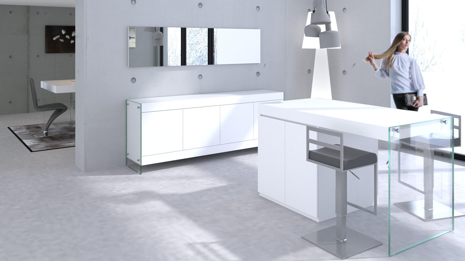 le blog mobiliermoss ilot pied verre bois blanc laque mat crystalline mobiliermoss. Black Bedroom Furniture Sets. Home Design Ideas