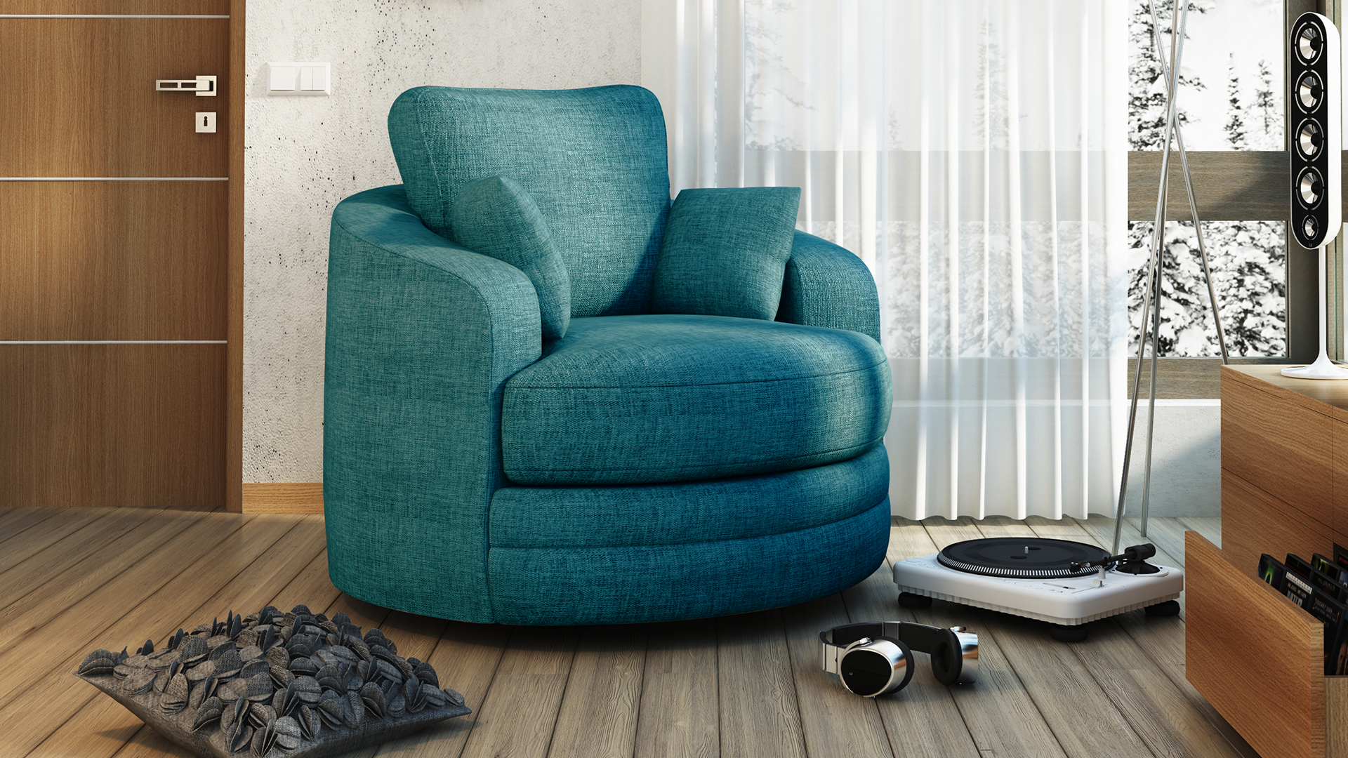 fauteuil rond pivotant tissu bleu85 buckie salon mobiliermoss le blog mobilier moss. Black Bedroom Furniture Sets. Home Design Ideas