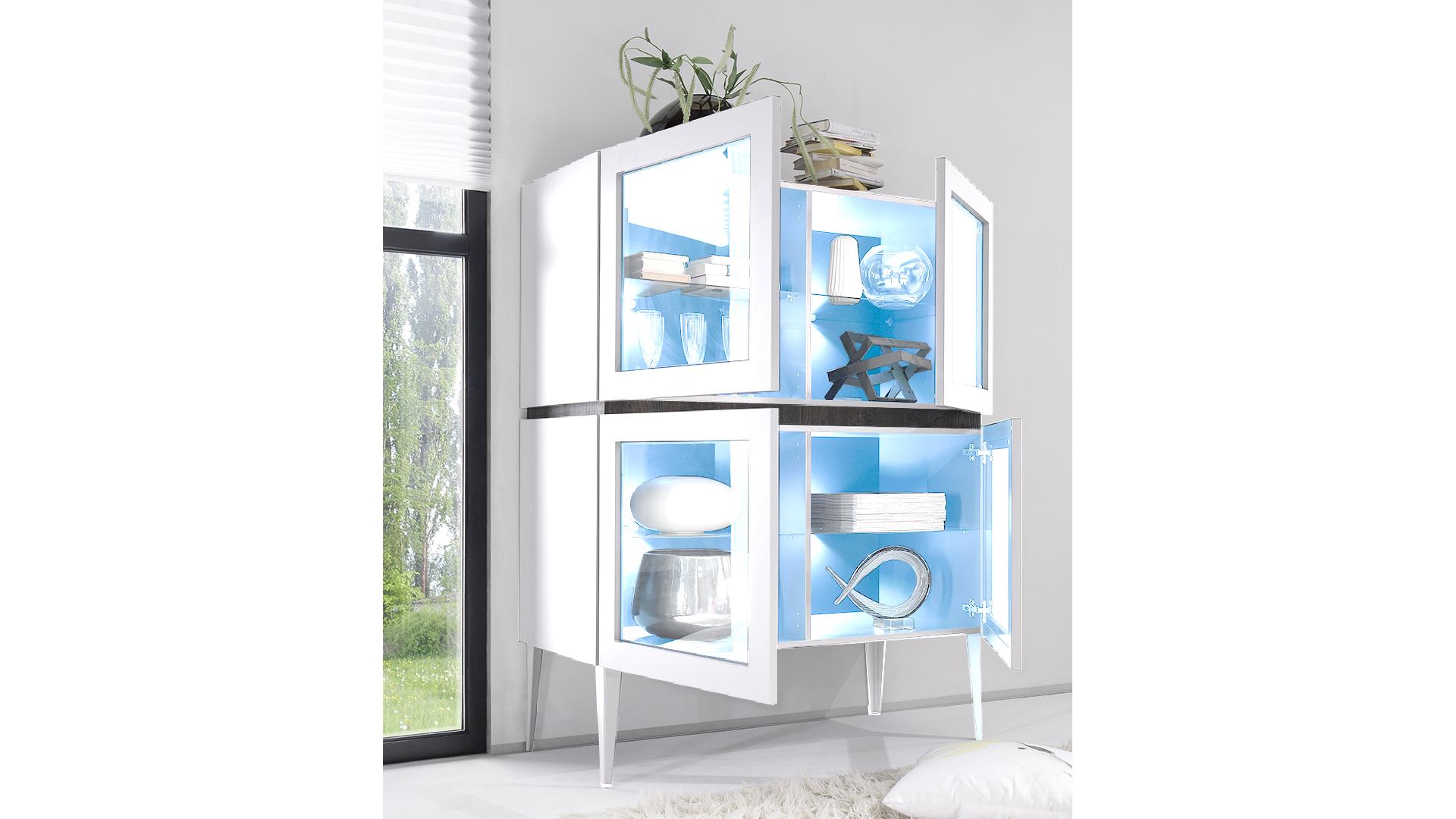 rangement 4portes vitrees sur pieds laque mat blanc b galatik mobiliermoss le blog mobilier moss. Black Bedroom Furniture Sets. Home Design Ideas