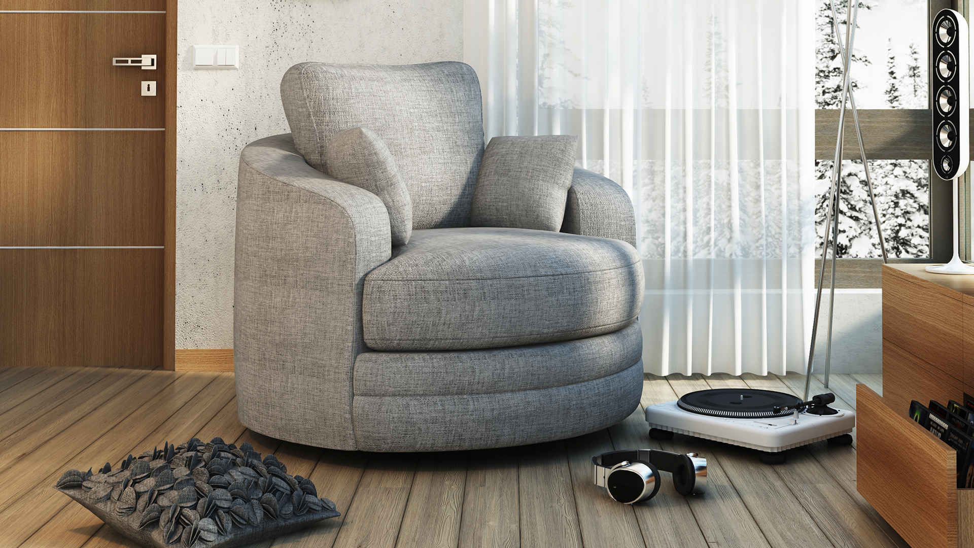 fauteuil rond pivotant tissu gris90 buckie salon mobiliermoss le blog mobilier moss. Black Bedroom Furniture Sets. Home Design Ideas