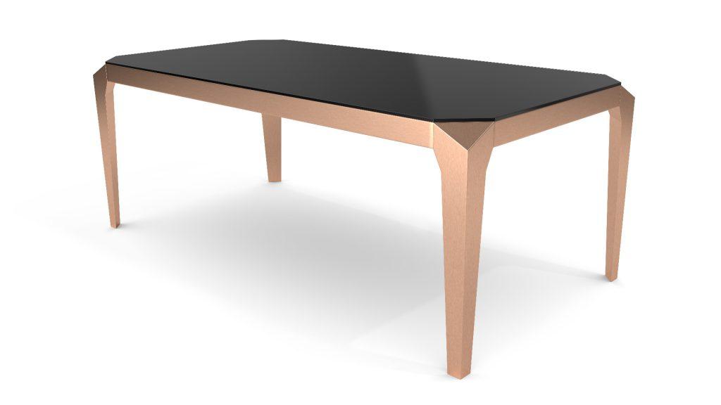 table-a-diner-200x100-verre-trempe-noir-pied-cuivre-dixies