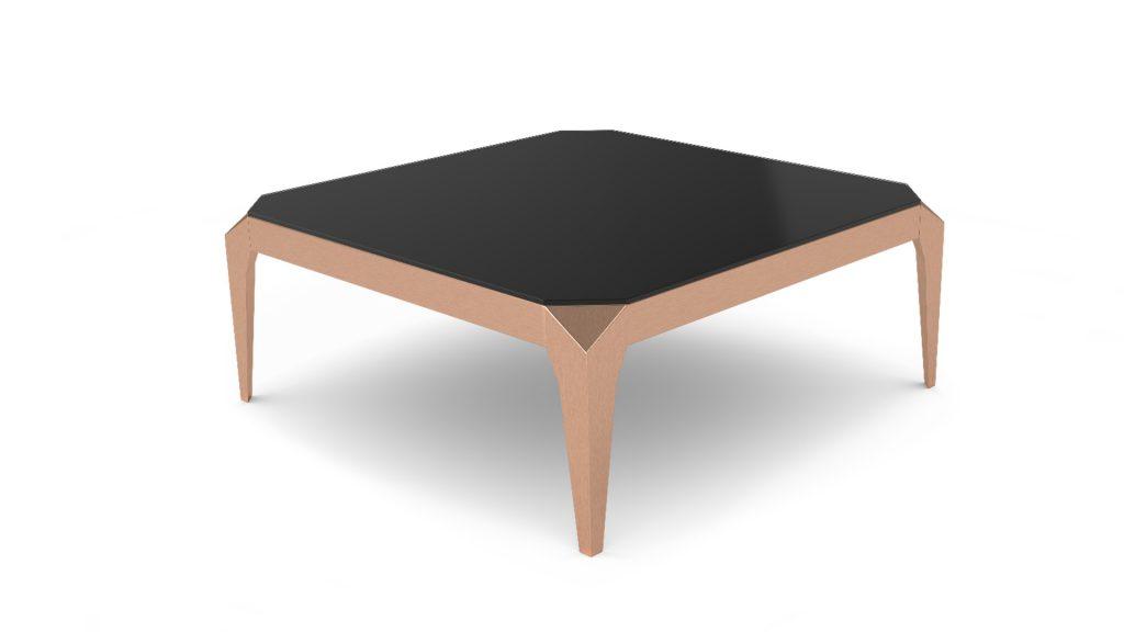 table-basse-110x110-verre-trempe-noir-pied-cuivre-dixies