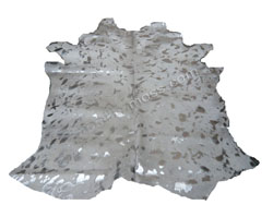 tapis peau de vache devore banc argent 1 sm