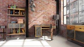Bureau aménagé style industriel