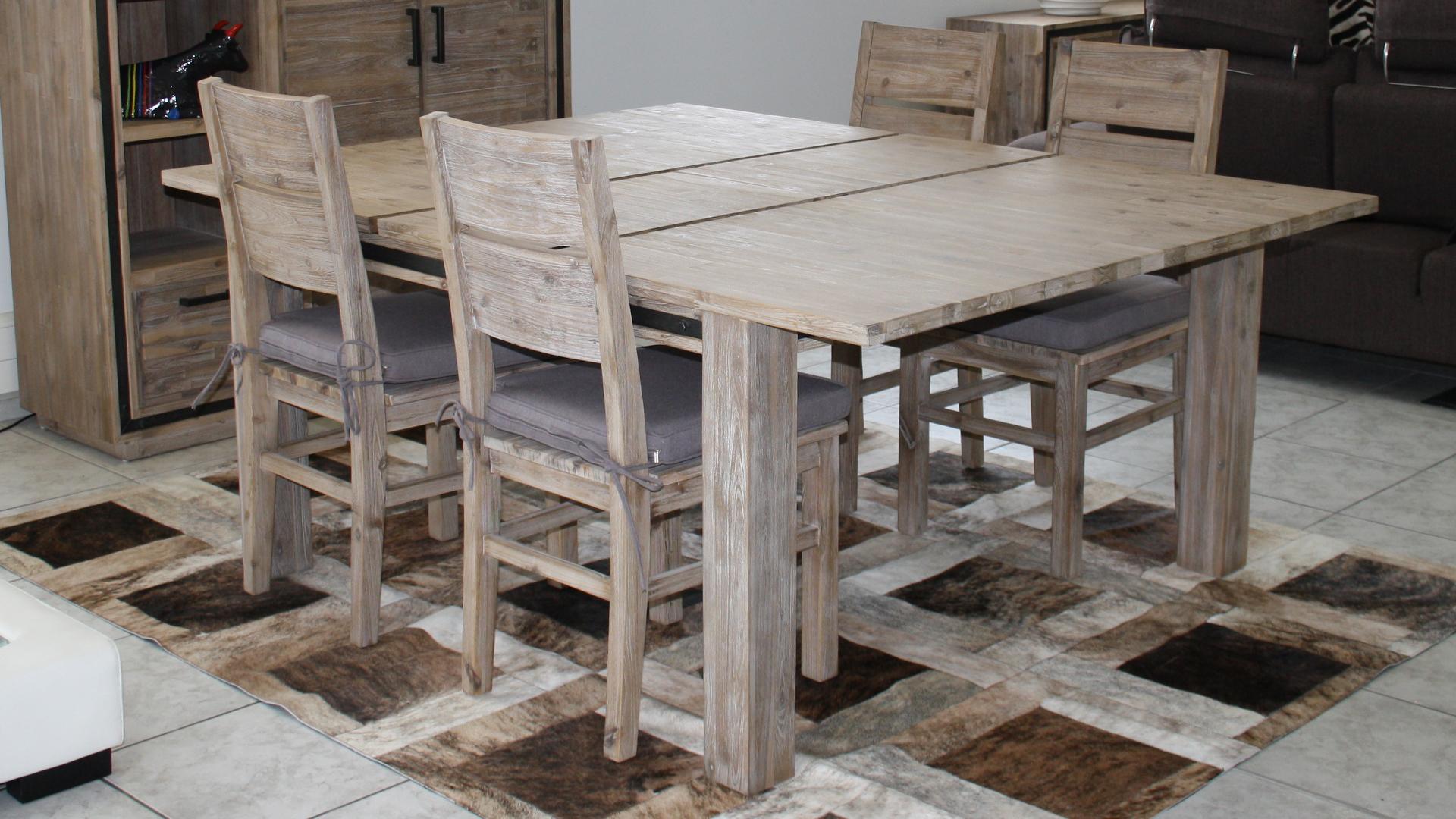 Table Carre Salle A Manger Bois Massif Acacia Rallonge