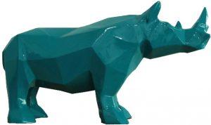 statue bleu en résine - Rhinogami - MobilierMoss